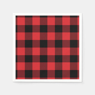 Red and Black Buffalo Check Pattern Paper Napkin at Zazzle