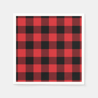 Red and Black Buffalo Check Pattern Paper Napkin