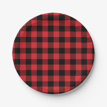 Red and Black Buffalo Check Plaid Pattern Paper Plate
