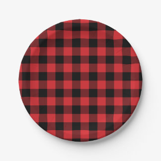 Red and Black Buffalo Check Plaid Pattern 7 Inch Paper Plate