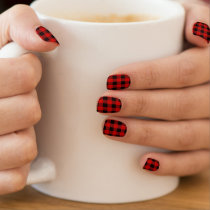 Red and Black Buffalo Plaid / Check Pattern Minx Nail Art