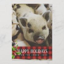 Red and Black Buffalo Plaid Holidays Photo Card