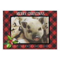 Red and Black Buffalo Plaid Holidays Photo Card