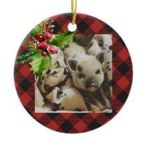 Red and Black Buffalo Plaid  Holidays Photo Ceramic Ornament