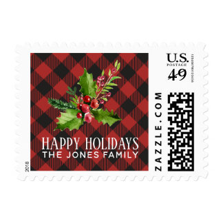 Red and Black Buffalo Plaid  Holidays Postage