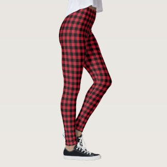 Red and Black Buffalo Plaid Lumberjack Pattern Leggings