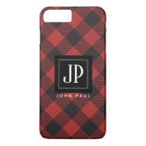 Red and Black Buffalo Plaid Monogram iPhone 8 Plus/7 Plus Case