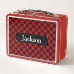 """Red and Black Buffalo Plaid Monogram Metal Lunch Box<br><div class=""""desc"""">Red and Black Buffalo Plaid Monogram lunch box</div>"""
