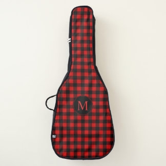 Red and Black Buffalo Plaid Pattern with Monogram Guitar Case
