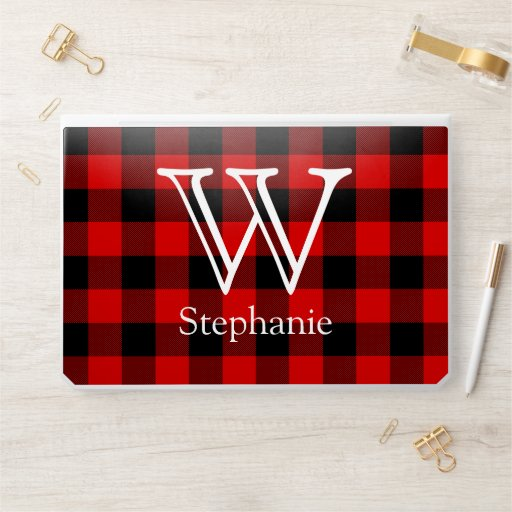 Red and Black Buffalo Plaid Personalized Monogram HP Laptop Skin