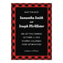 Red and Black Buffalo Plaid Save the Date Invitation