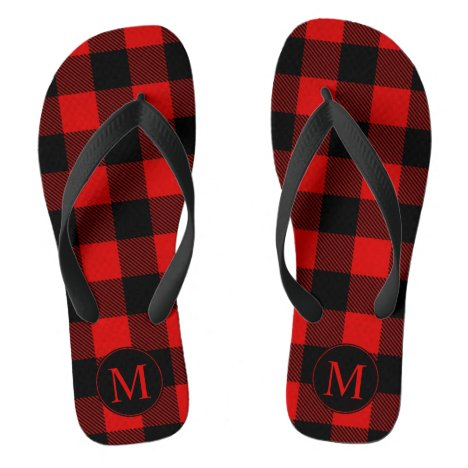 Red and Black Buffalo Plaid with Monogram Flip Flops