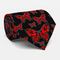 Red and Black Butterfly on Black Neck Tie