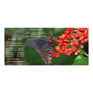 Red and Black Butterfly Wedding Program
