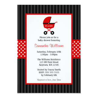 Red and Black Carriage Striped Dots Baby Shower Card