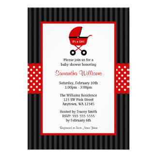 Red and Black Carriage Striped Dots Baby Shower Announcements