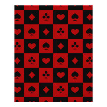 Red and Black Casino Poker Playing Cards Pattern