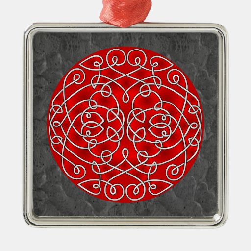 Red and Black Celtic Art Curls Square Metal Christmas Ornament