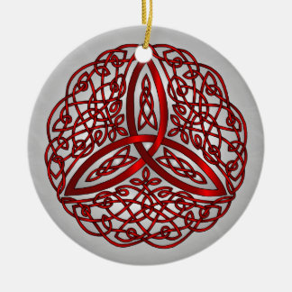 Red and Black Celtic Art Trinity Knot Ceramic Ornament