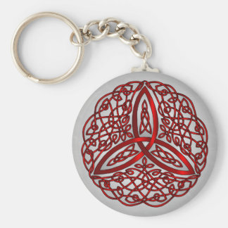 Red and Black Celtic Art Trinity Knot Keychain