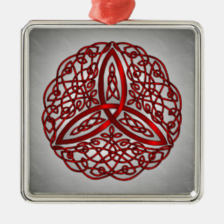 Red and Black Celtic Art Trinity Knot Square Metal Christmas Ornament