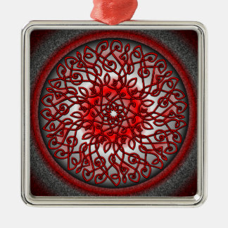 Red and Black Celtic Burst Square Metal Christmas Ornament