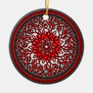Red and Black Celtic Burst Double-Sided Ceramic Round Christmas Ornament