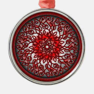 Red and Black Celtic Burst Round Metal Christmas Ornament
