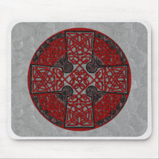 Red and Black Celtic Cross Medallion Mouse Pad