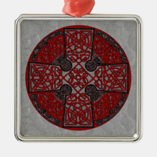 Red and Black Celtic Cross Medallion Square Metal Christmas Ornament