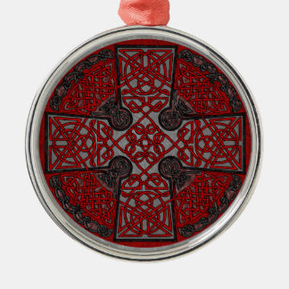 Red and Black Celtic Cross Medallion Round Metal Christmas Ornament
