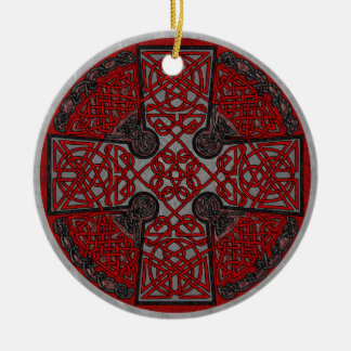 Red and Black Celtic Cross Medallion Double-Sided Ceramic Round Christmas Ornament