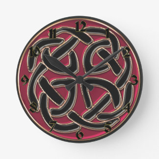 Red and Black Celtic Knot Clock