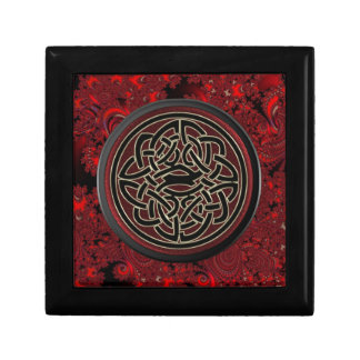 Red and Black Celtic Knot on Red Fractal Gift Box