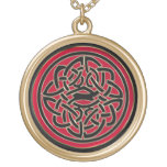 Red and Black Celtic Shield Knot Necklace