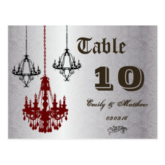 Red and Black Chandelier Table Number Postcard