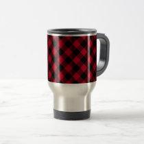 Red And Black Check Buffalo Plaid Pattern Travel Mug