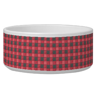 Red and Black Check Pet Bowl