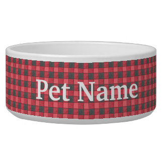 Red and Black Check Pet Bowl - Custom