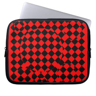 Red and black checker board optical illusions case