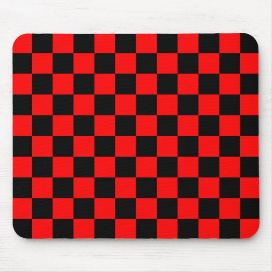 Red and Black Checker Pattern Mouse Pad