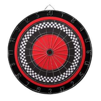 Red and Black Checkered Dartboard With Darts