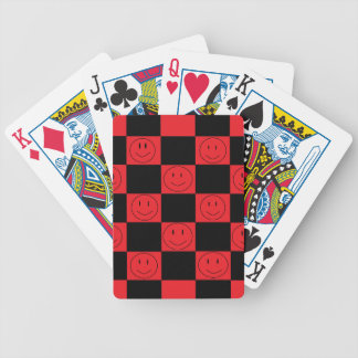 Red and Black Checkered Happy Faces Playing Cards