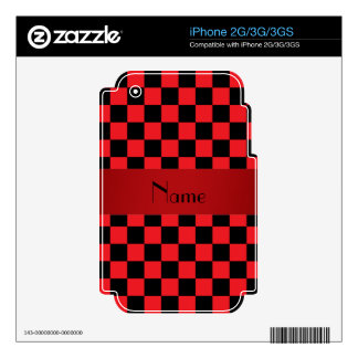 Red and black checkered pattern iPhone 2G skins