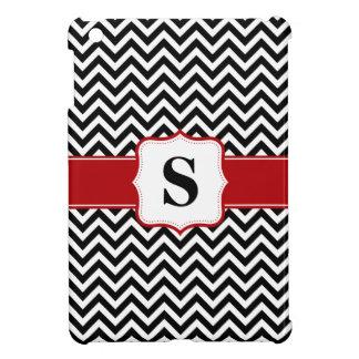Red and Black Chevron Monogram Personalized iPad Mini Cover