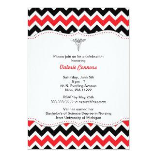 """Red and Black Chevron Nurse Graduation Invite RN 5"""" X 7"""" Invitation Card"""
