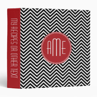 Red and Black Chevron Pattern Custom Monogram Binder
