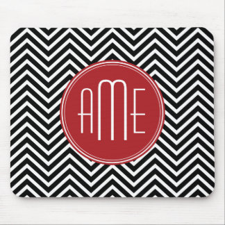 Red and Black Chevron Pattern Custom Monogram Mouse Pad