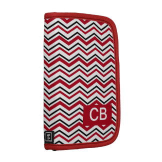 Red and Black Chevron Pattern Planner