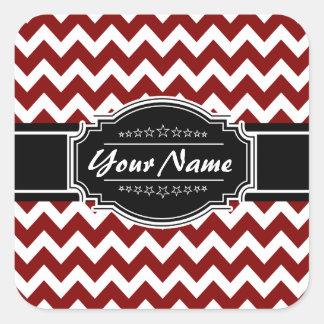 Red and Black Chevron Personalized Square Sticker